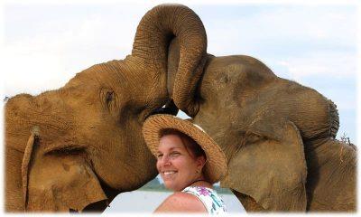Teressa with the elephants